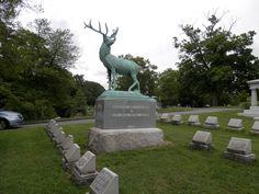 Life size bronze elk burial site, Cave Hill Cemetery, Louisville, Kentucky