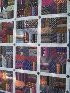 """Previous pinner wrote: """"David's Ties"""" quilt by Esther at Threads on the Floor. A memorial quilt. She kept the large ends of the ties intact. Quilting Projects, Quilting Designs, Sewing Projects, Textiles, Necktie Quilt, Shirt Quilts, Old Ties, String Quilts, Scrappy Quilts"""