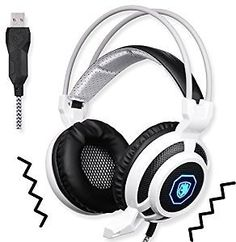 SADES SA905 USB PC Gaming Headset Headphone with Microphone Mild Vibration and Spot LED Light