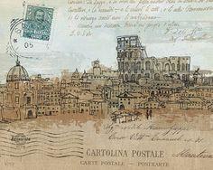 Avery-Tillmon-Cities-IV-Rome-Fertig-Bild-20x25-Wandbild-Postkarte-Staedte