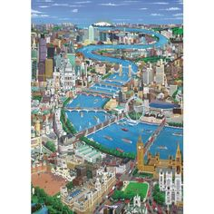 Buy London - The Thames from Wentworth Wooden Puzzles: London - The Thames by Christopher Rogers - High quality British made wooden jigsaws with unique whimsy pieces, direct from Wentworth Wooden Puzzles. Mind Puzzles, Wooden Jigsaw Puzzles, River Thames, London Art, Detail Art, Cool Artwork, London England, Places To See, City Photo