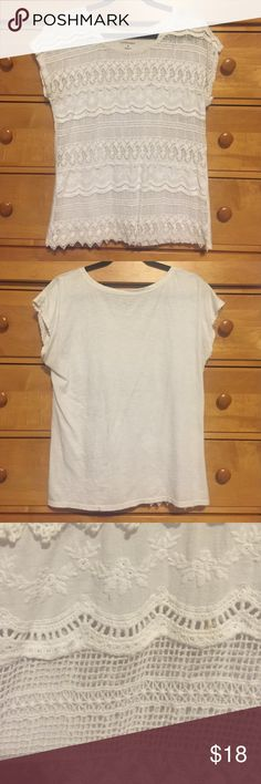 Bass white lace shirt Bass white lace shirt. Lightly worn. Great with colored tank top underneath to add a pop of color. Bass Tops Blouses