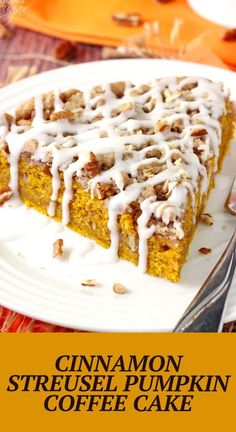 This Cinnamon Streusel Pumpkin Coffee Cake is the perfect fall breakfast recipe! It's easy to put together, so moist, and full of pumpkin flavor! Pumpkin Coffee Cakes, Pumpkin Cake Recipes, Sugar Pumpkin, Pumpkin Puree, Best Dessert Recipes, Fun Desserts, Delicious Desserts, Dessert Ideas, Sweet Recipes