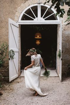 Bride in Laure De Sagazan - Rustic French Wedding At Chateau de Lartigolle With Elegant And Minimal Styling By Another Story Studio With Bride In Laure De Sagazan The Mews Notting Hill Images by Darek Smietana
