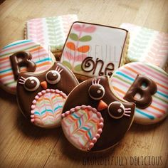 Birthday Owls cookies | Cookie Connection