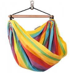 LA SIESTA Iri Rainbow Fabric Hammock Chair at Lowe's. The colorful children's hammock chair, Iri Rainbow, offers kids a quiet retreat to play and dream. The closed-weave suspension, instead of the usual Kids Hammock, Indoor Hammock, Indoor Swing, Hanging Hammock Chair, Hammock Stand, Swinging Chair, Chair Swing, Hammocks, Hammock Ideas