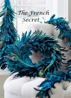 My mom just redecorated her room with teal, gold and peacocks. I think I could make a nice feather Christmas tree for her with this garland! Etsy listing at https://www.etsy.com/listing/185779656/chic-wedding-peacock-garland-feather