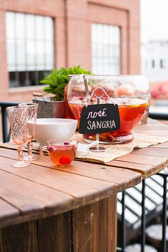 punch bowl of red sangria // cute chalkboard label