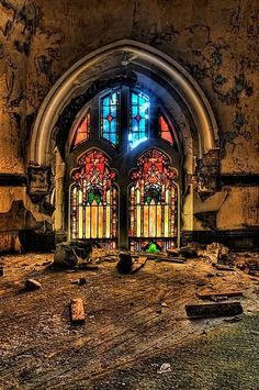 Stained glass window in an abandoned church, St. Curvy's Abandoned Church in HDR - Detroit, Michigan, United States. Abandoned Buildings, Abandoned Mansions, Old Buildings, Abandoned Places, Abandoned Detroit, Magic Places, Old Churches, Haunted Places, Place Of Worship