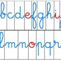 Voici mes lettres mobiles Montessori avec la police d'écriture Scolacursive. Il ne reste plus qu'à les plastifier et à fabriquer la boîte pour les ranger ...  Télécharger « lettres mobiles...