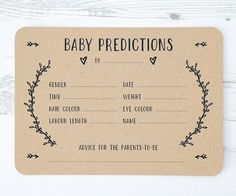 A beautiful set of Gender-Neutral Baby Prediction Cards. An exciting way to engage everyone at Baby showers and a nice keepsake for the mum-to-be afterwards. The simple and rustic design allows them to work with a variety of themes. Baby Prediction Pack Includes x10 cards Invitations are professionally printed on to 280gsm recycled cairn eco kraft. Hand finished with rounded corners. Dimensions of each card are 5x7 inches. Item comes in a cellophane bag for protection and easy...