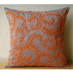 "Orange Whirlwind - Orange 18""X18"" Silk Pillows Cover"