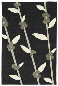 Judy Ross Hand-Knotted Custom Wool Coffee Tree Rug black/parchment/cream/pewter silk