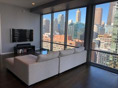 This Chicago condo is a private oasis in the sky. Large windows provide stellar views of downtown Chicago and allow sunlight to cascade into this 1 bedroom condo for rent. Floor to ceiling windows let Chicago's world famous architecture take center stage from this condo on the 23rd floor of a high-rise apartment building located in the Streeterville neighborhood of Chicago. | Domu Chicago Apartments