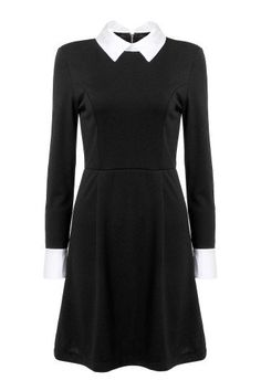 Get the look this season is this seriously long sleeve dress. With contrast collar and zipper back, this dress is off the hook stylish. Team up with some pointy ankle boots for a chic look. Wednesday Addams Dress, White Collar Dress, Collared Dress, White Dress, Modele Hijab, Kohls Dresses, Black Long Sleeve Dress, Dress Long, Online Dress Shopping