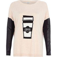 Pink coffee print contrast sleeve jumper €45.00
