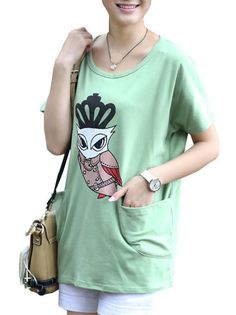 Crowned Owl Cartoon Pockets Design Loose Cute Top Women's Tee Shirts on buytrends.com