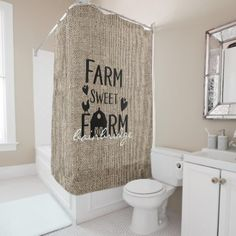 Shop Rustic Farm Sweet Farm Farmhouse Personalized Shower Curtain created by shabbychicgraphics.