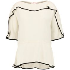 See by Chloé Ruffled crepe blouse ($140) ❤ liked on Polyvore featuring tops, blouses, cream, petite blouses, white crepe blouse, loose blouse, peplum blouse and white frilly blouse