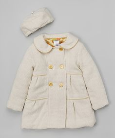 Look at this Penelope Mack Ivory & Gold Swing Coat & Beret - Infant, Toddler & Girls on #zulily today!