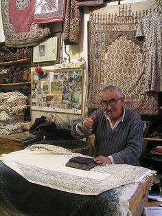 Hand block printing, Isfahan, Iran.