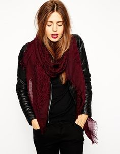 ASOS Wool Mix Open Weave Scarf - Burgundy