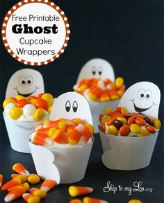 Ghost Cupcake Wrappers - free Halloween Printable by Skip to my Lou!