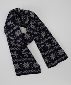 Love this Black & Gray Snowflake Scarf by modern centers trade on #zulily! #zulilyfinds