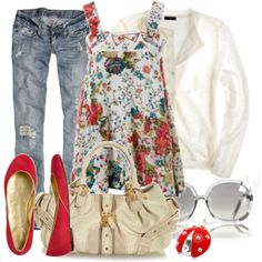 Love this floral top with red flats!!