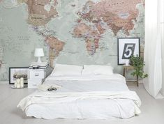 Diy art wall canvas diy art and canvases classic world map looks great as a feature wall in a bedroom gumiabroncs Gallery