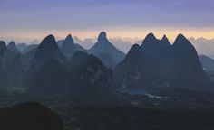 Waiting for the sun to rise amongst the bizarre peaks of Guilin China [OC][4897  2991]