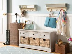 Joss and Main Mudroom Organization Tips - Country Living - IDEA: Bench with storage in foyer and our black shelf with hooks above it. Joss And Main, Hallway Furniture, Furniture Ideas, Organizer, Mudroom, Home Organization, Repurposed, Home Goods, Sweet Home