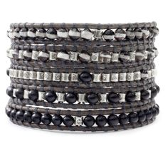 Black Horn and Silver Mix Wrap Bracelet on Natural Grey Leather - Chan Luu