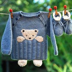 Layette ensemble 3 mois ourson brassière et chaussons bleu et beige neuf tricoté main
