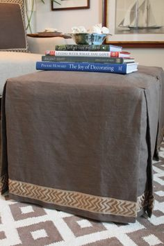 My dish towel ottoman slipcover officecraft room update remake those green ottomans into this and put them in the living room waste not want not solutioingenieria Image collections