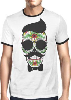 Hipster Sugar Skull - Dhaporshankh Guys Ringer Tee