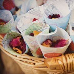 Guests were given dried lavender and rose petals from cones fashioned out of vintage maps of California. Photo by JL Photografia (Janet Moscarello & Lisa Lefringhouse).need Europe maps! Gifts For Wedding Party, Wedding Favors, Wedding Bells, Wedding Flowers, Unique Weddings, Real Weddings, Garden Weddings, Confetti Cones, Carmel Valley