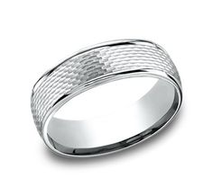 Mens 10K White Gold 6mm Comfort Fit Wheat Round Edge Carved Wedding Band Ring