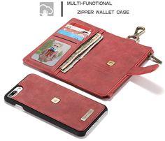 CaseMe 009 iPhone 7 Plus Metal Buckle Zipper Wallet Detachable Folio Case Red