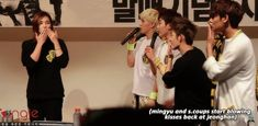 Seventeen Jeongha blowing kisses and his fellow members Mingyu and S.Coups blowing kisses back #kpop