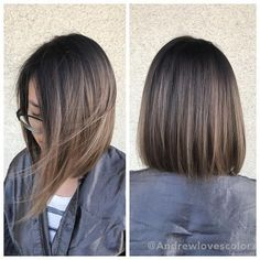 Beige Babylights and balayage. Cut and color by Beige Babylights and balayage. Short Straight Haircut, Short Hair Cuts, Straight Hairstyles, Straight Bob, Hairstyles 2016, Ombre Short Hair, Haircuts For Medium Length Hair, Medium Hair Styles, Short Hair Styles