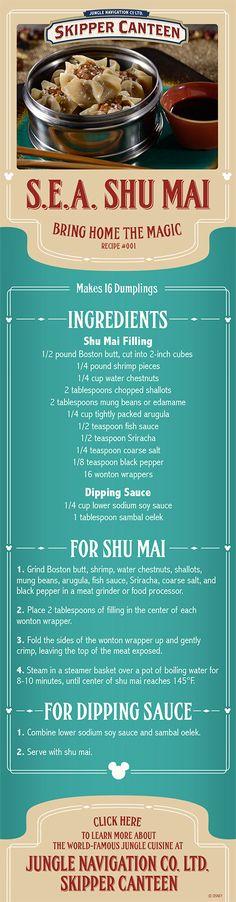 Recipe for Shu Mai from Jungle Skipper Canteen at Magic Kingdom at Walt Disney World Resort