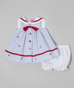 This Light Blue Seersucker Nautical Dress & Diaper Cover - Infant by Good Lad is perfect! #zulilyfinds