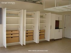 We're Organized servicing Oregon, Washington and Florida produces quality construction of garage cabinets and closet systems. At We're Organized we use only the finest materials making us a leading manufacturer of garage cabinet storage systems. Garage Storage Cabinets, Diy Garage Storage, Garage Shelving, Basement Storage, Ceiling Storage, Ikea Cabinets, Storage Room, Cabinet Shelving, Home Organization