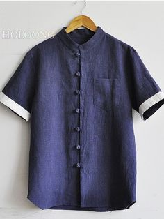 Short sleeve shirts Householder suit Chinese style Solid color Zen Men Base Shirts
