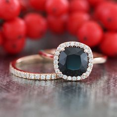 Halo Wedding Ring Set in 14k Rose Gold Half Eternity Diamond Wedding Band and 8x8mm Cushion Black Spinel Engagement Ring