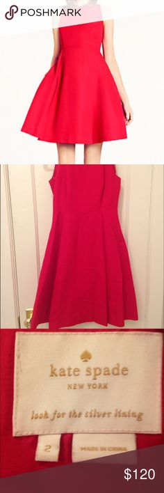 Red Angelika Kate spade dress Size 2 Kate spade Angelika dress! Fit and flare, with pockets! Beautiful red dress perfect for holiday parties, weddings, date nights, and dinners! Only worn twice kate spade Dresses