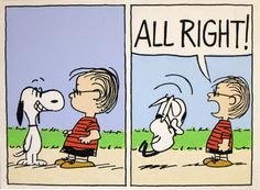 snoopy looking at himself in linus' new glasses. he wasn't the first one to do that and linus has had enough.  peanuts comic by waltyablonsky