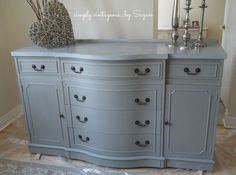 buffet before and after, chalk paint, painted furniture, ASCP French Linen