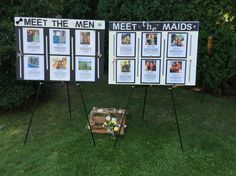 Our Meet the men / Meet the maids boards Ceremony Signs, Reception Signs, Outdoor Ceremony, Wedding Signs, Wedding Bells, Wedding Table, Our Wedding, Wedding Dreams, Dream Wedding